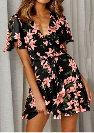 Floral Wrap Deep V-Neck Mini Dress without Necklace