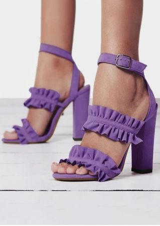 Solid Ruffled Ankle Strap Heeled Sandals