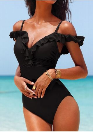 Solid Ruffled One-Piece Swimsuit