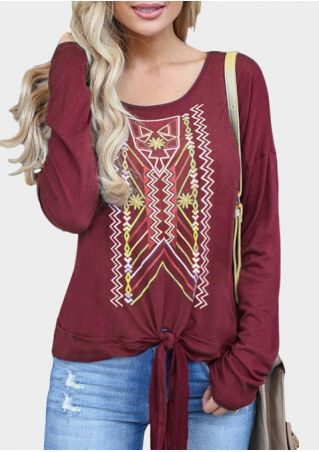 Geometric Printed Tie Long Sleeve T-Shirt Tee