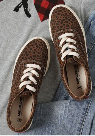 Leopard Pattern Lace Up Sneakers