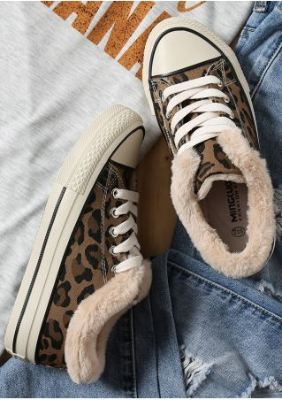 Leopard Pattern Fluffy Lace Up Sneakers