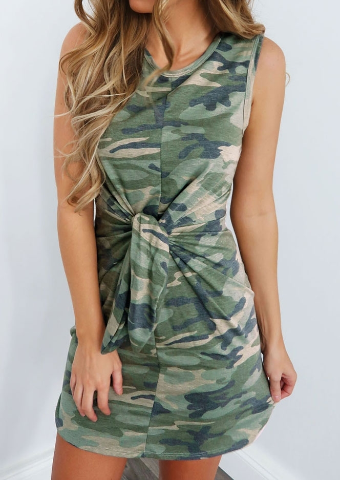 Mini Dresses Camouflage Printed Tie Sleeveless Mini Dress in Camouflage. Size: S,L,XL фото