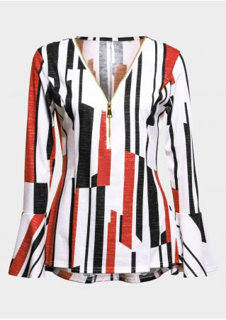 Color Block Zipper V-neck Blouse