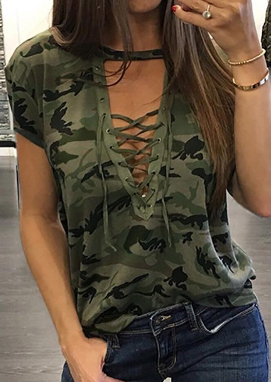 Blouses Lace Up Camouflage Printed Blouse in Gray,Green. Size: S,M,L,XL,2XL,3XL фото