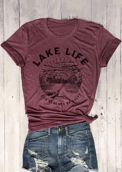 Tees T-shirts Lake Life Cuz Beaches Be Salty T-Shirt in Plum. Size: S,M,L,XL фото