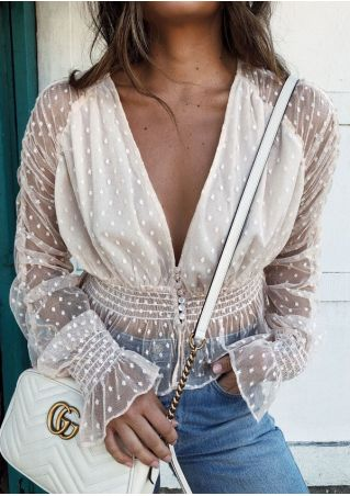 Solid Mesh Splicing Deep V-Neck Blouse