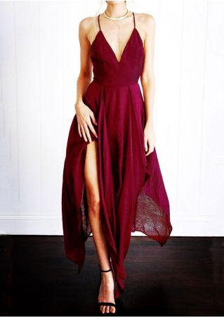Solid Deep V-Neck Asymmetric Maxi Dress without Necklace