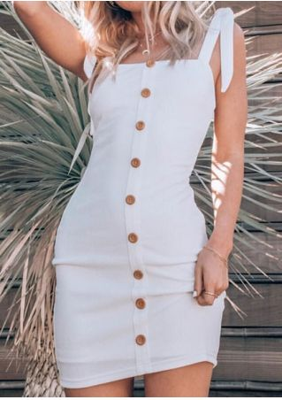 Solid Button Tie Bodycon Dress without Necklace