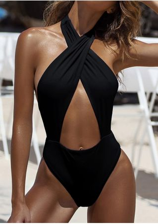 Solid Cross Halter One-Piece Swimsuit