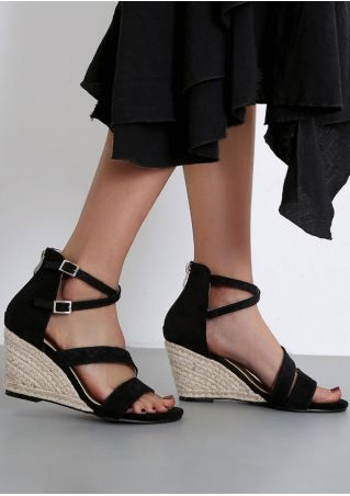 Solid Buckle Strap Wedge Sandals
