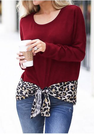 Leopard Printed Tie Long Sleeve Blouse