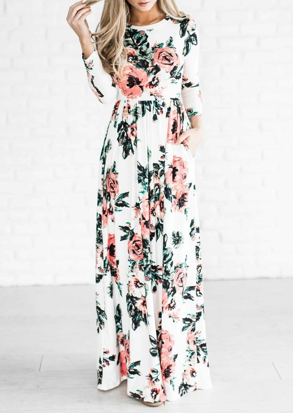 Floral Maxi Dress without Necklace фото