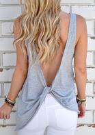 Solid Twist Backless Tank without Necklace