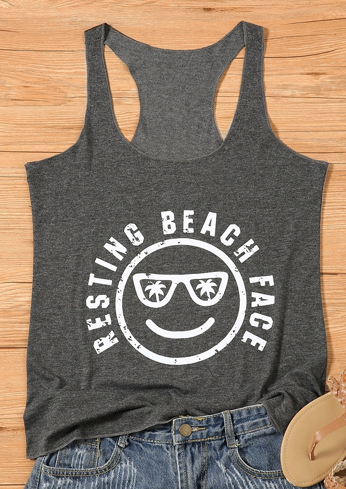 Resting Beach Face O-Neck Tank
