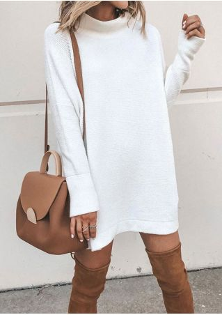 Solid Long Sleeve Mini Dress