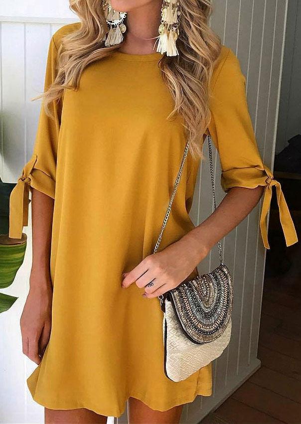 Solid Tie O-Neck Mini Dress