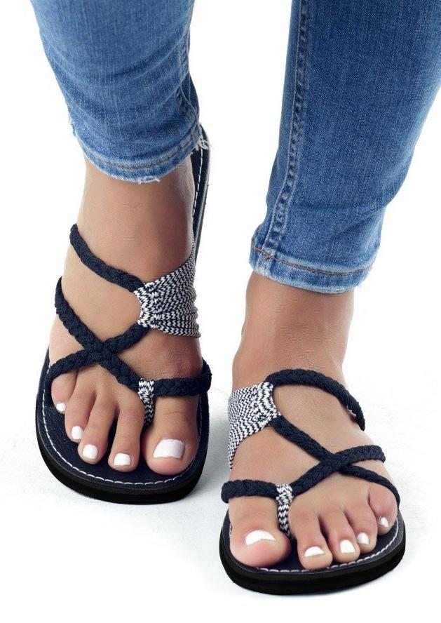 Sandals Summer Splicing Flat Sandals in Black,White,Sky Blue. Size: 36,37,38,39,40,41,42,43
