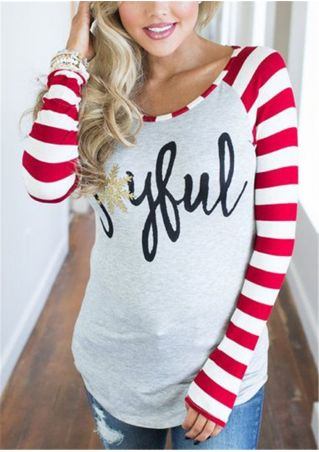 Snowflake Joyful Long Sleeve Baseball T-Shirt