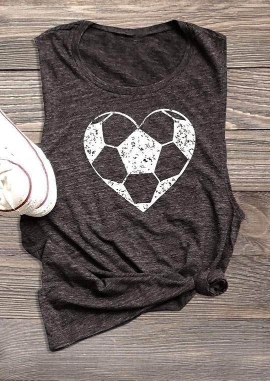 Heart Football O-Neck Tank – Dark Grey