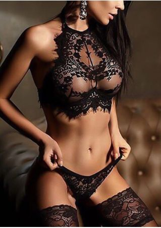 Solid Lace Floral Lingerie Set
