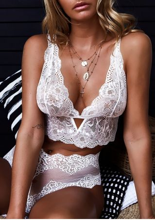 Solid Lace Floral Sexy Lingerie Set without Necklace