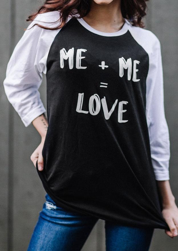 Me Love O-Neck Baseball T-Shirt Tee