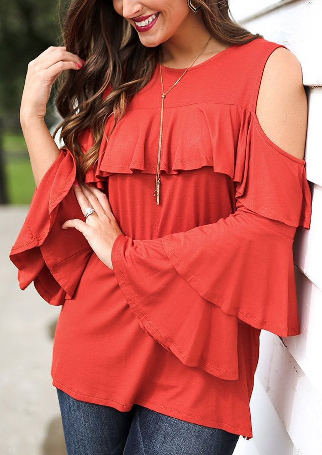 Solid Layered Cold Shoulder Blouse without Necklace