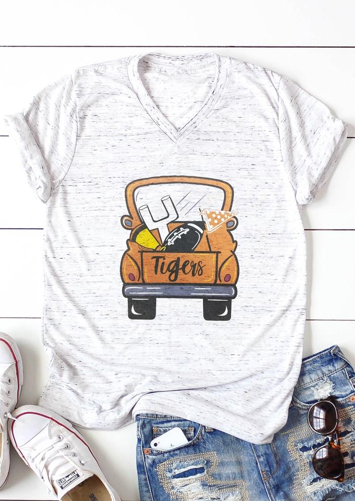Tigers V-Neck Short Sleeve T-Shirt Tee