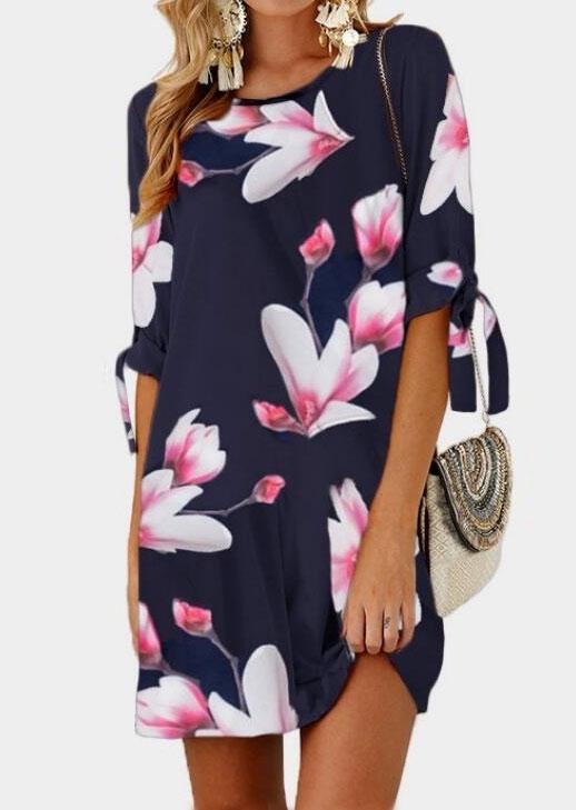 Mini Dresses Floral Tab-Sleeve Mini Dress in Navy Blue. Size: S,M,L,XL,3XL,4XL,5XL фото