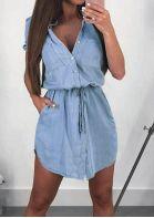 Solid Denim Button Mini Dress