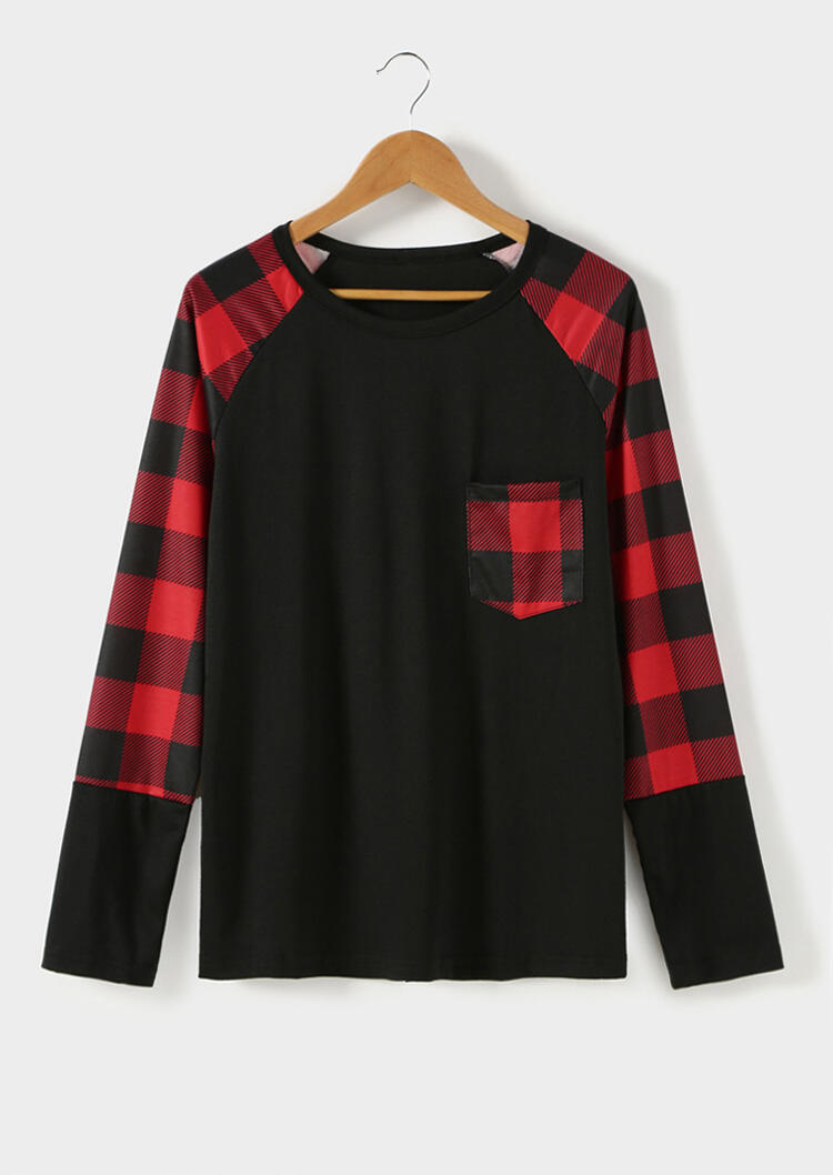 Tees T-shirts Plaid Pocket Splicing Baseball T-Shirt in Black. Size: S,M,L,XL фото