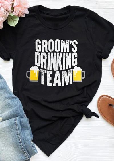 Groom's Drinking Team O-Neck T-Shirt Tee