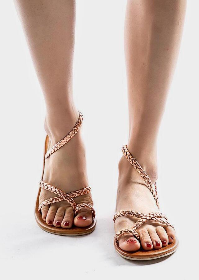 Solid Braid Wrap Flat Sandals