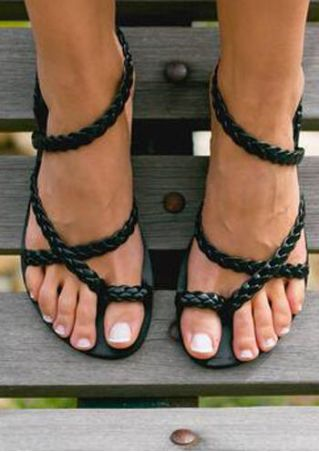 Solid Braid Wrap Flat Sandals