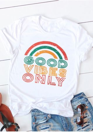 Good Vibes Only Rainbow T-Shirt Tee