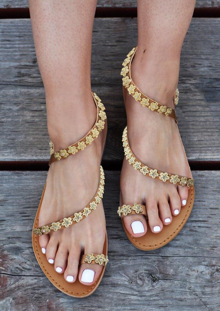 Flower Splicing Round Toe Sandals