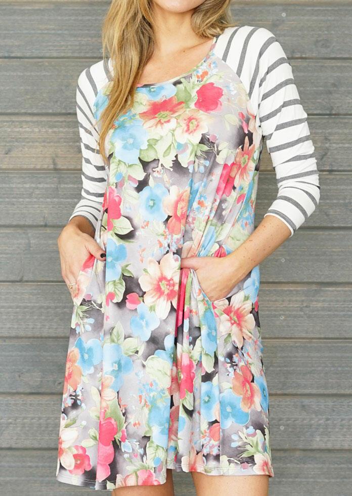Floral Striped Pocket Mini Dress