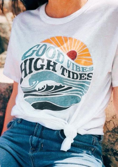 Good Vibes High Tides T Shirt Tee Fairyseason