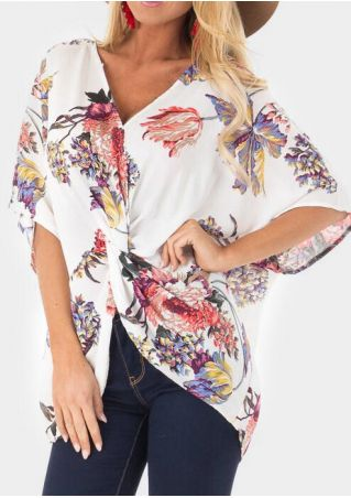 Floral Tie Multi-Way Blouse