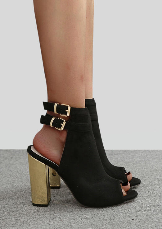 Image of Ankle Strap Peep Toe Heeled Sandal