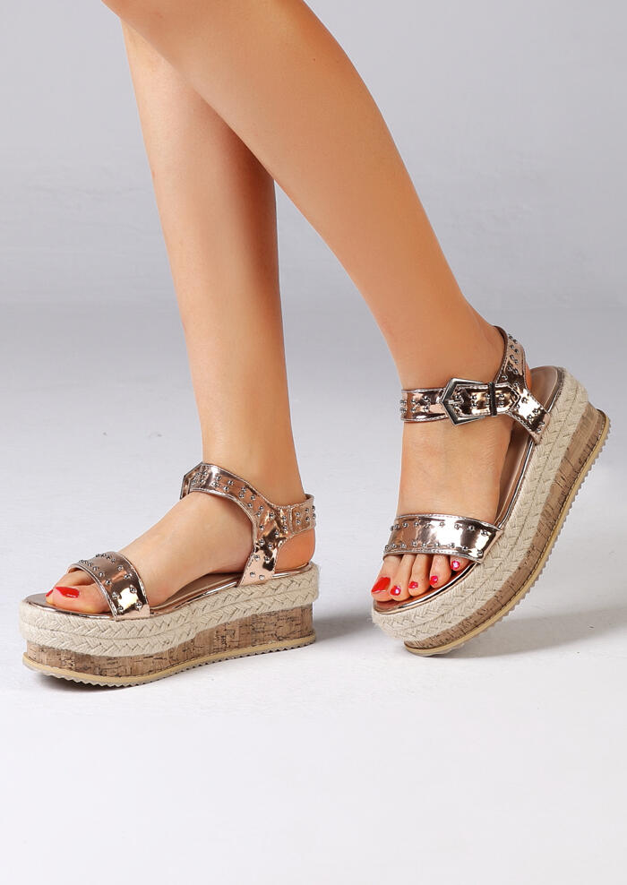 Sandals Summer Ankle Strap Buckle Sandals in Gold,Silver,Rose Red. Size: 35,36,37,38,39,40,41,42
