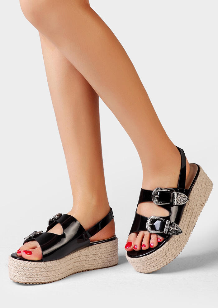 Solid Buckle Strap Sandals