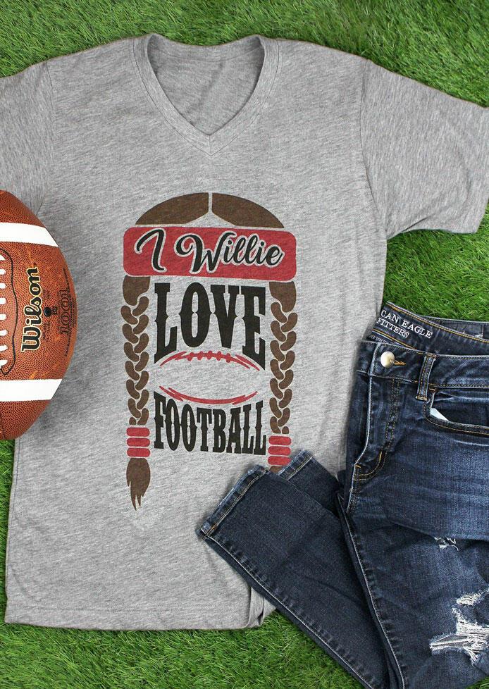 I Willie Love Football V-Neck T-Shirt Tee