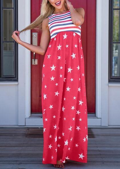 Striped Star Sleeveless Maxi Dress