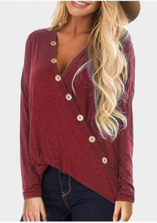 Solid Button V-Neck Blouse