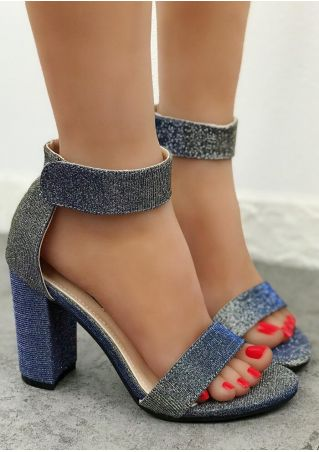 Solid Ankle Strap Heeled Sandals
