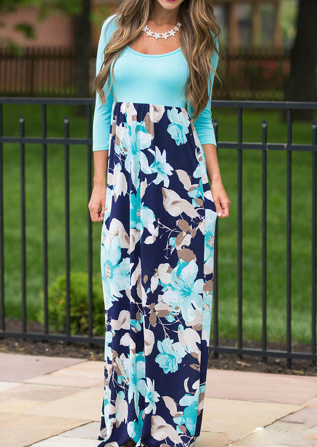 Maxi Dresses Floral Splicing O-Neck Maxi Dress without Necklace in Pink, Lake Blue. Size: S, M, L, XL