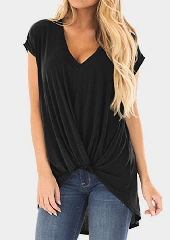 Blouses Solid Twist V-Neck Blouse in Black, Army Green, Burgundy. Size: S, M, L, XL