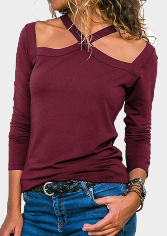 Blouses Solid Halter Long Sleeve Blouse in Black, Army Green, Burgundy. Size: S, M, L, XL